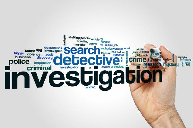 Word Cloud zum Thema Detektiv und Polizei mt einer Hand, die einen Stift hält